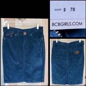 NEW $78 women BCBGirls corduroy pencil skirt 6